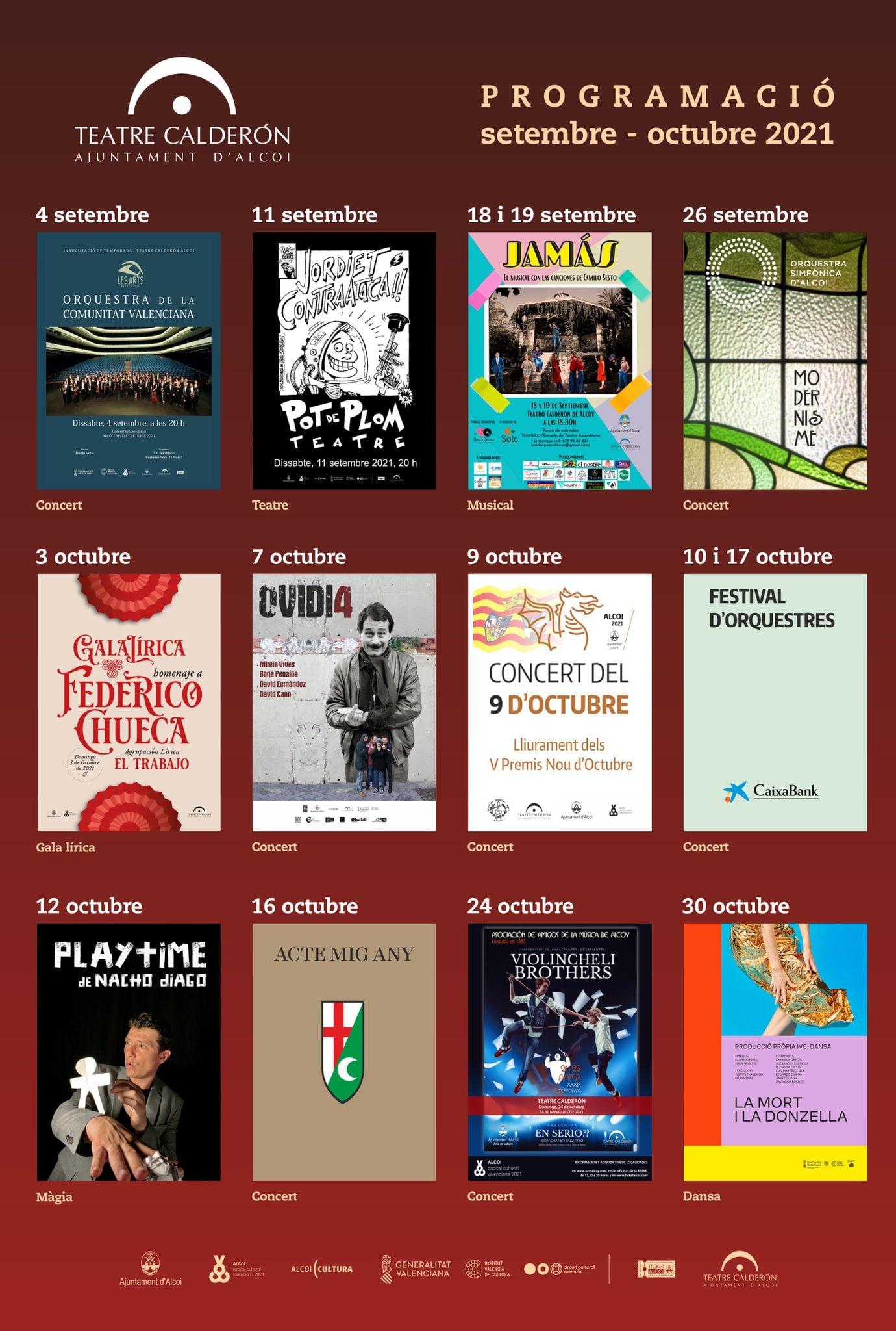 Programación septiembre - octubre Teatro Calderón (pdf)