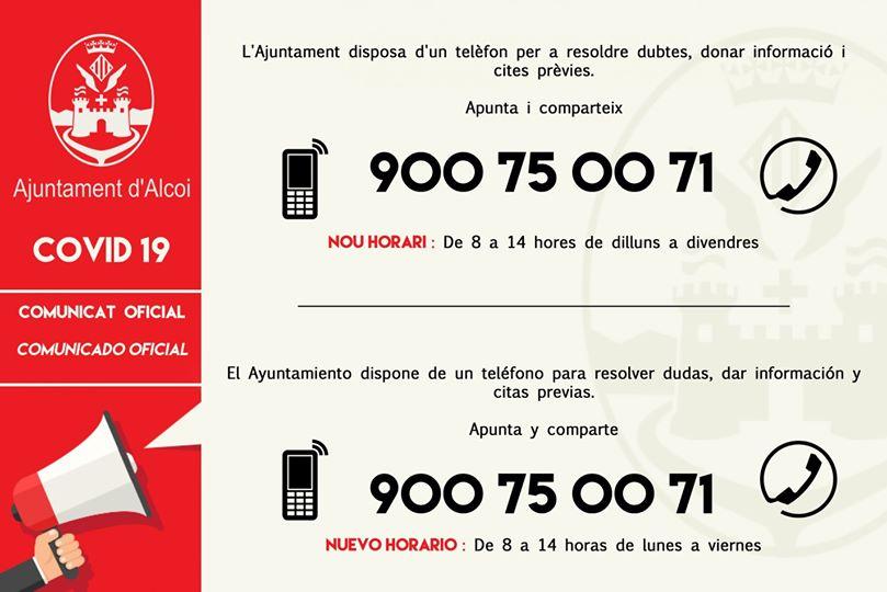 Foto Teléfono Gratuito. Nuevo Horario de 8 a 14 horas, de lunes a viernes.
